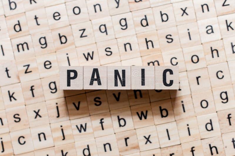 Concepto de la palabra del pánico en los cubos fotos de archivo libres de regalías