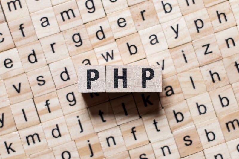 Concepto de la palabra del PHP fotos de archivo
