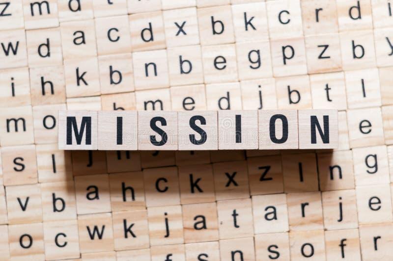 Concepto de la palabra de la misión foto de archivo