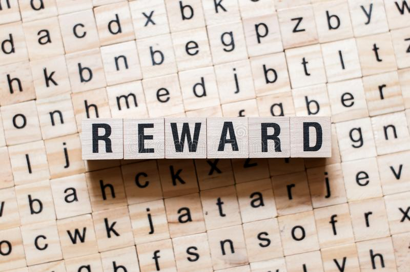 Concepto de la palabra de la recompensa fotografía de archivo libre de regalías