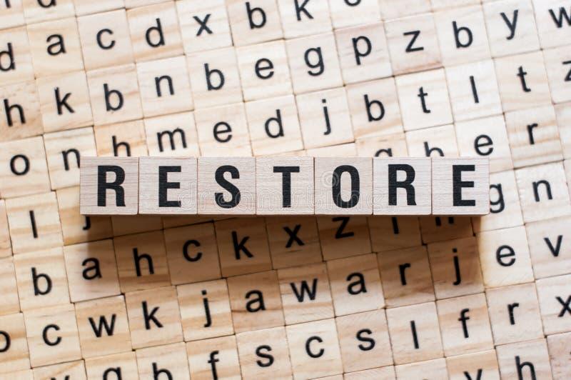 Concepto de la palabra de la restauración fotos de archivo libres de regalías
