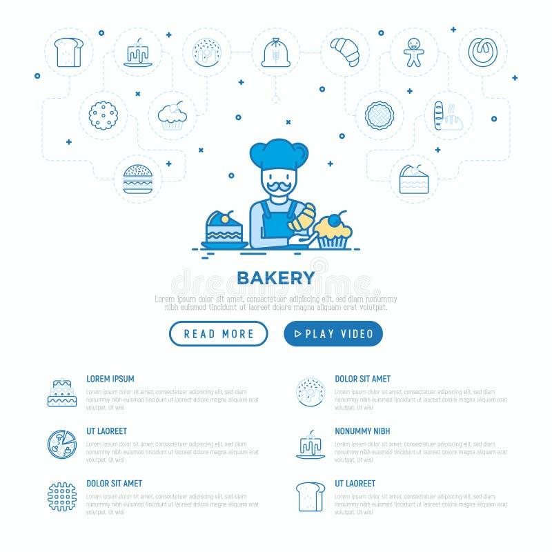 Concepto de la panader?a: panadero con el cruas?n Línea fina iconos: pan de la tostada, crepes, harina, buñuelo, pretzel, galleta foto de archivo