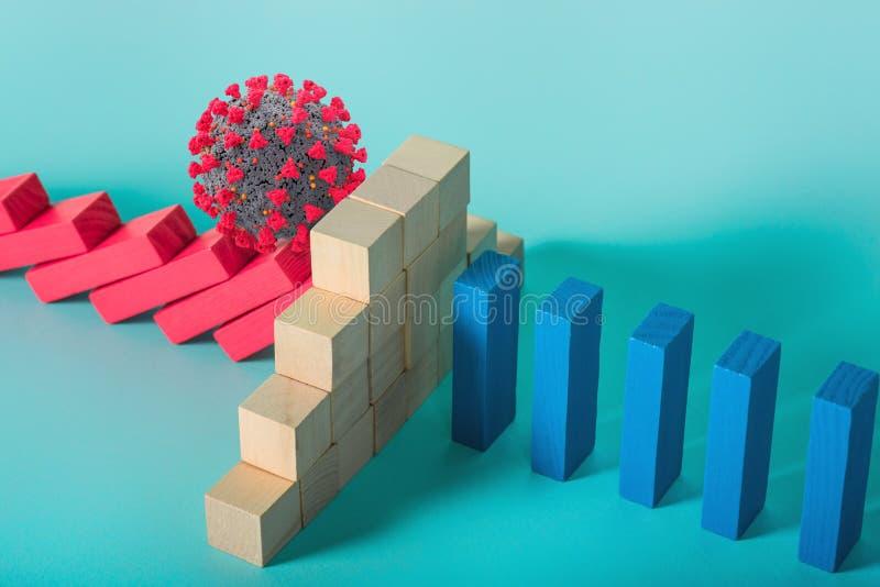 Concepto de la pandemia del coronavirus covid19 con una cadena de caída como un juego de dominó Contagio y progresión de la infec foto de archivo