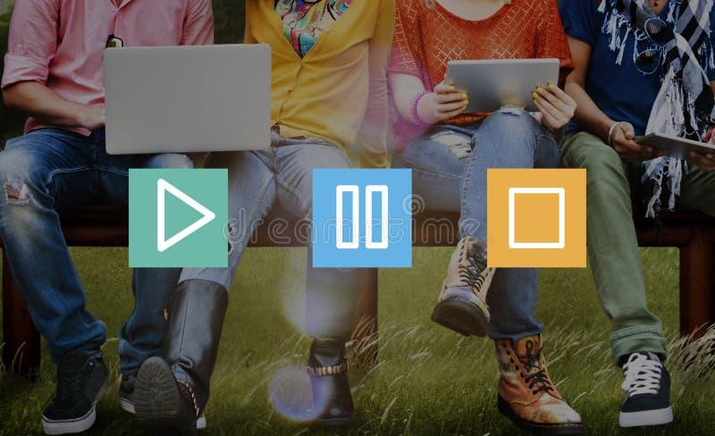 Concepto de la parada de la pausa del juego de las multimedias de los botones imagen de archivo