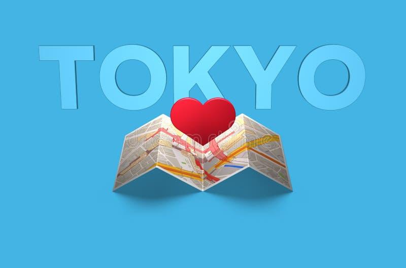 Concepto de la pasión por los viajes que viaja en mapa del despliegue de Tokio stock de ilustración