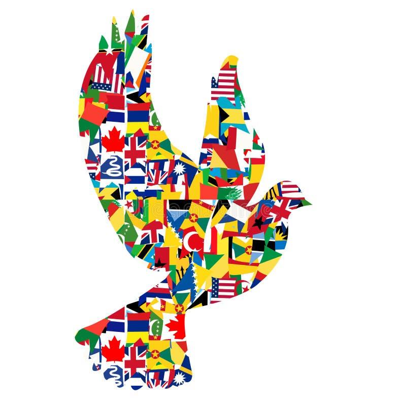 Concepto de la paz con la paloma hecha de banderas del mundo stock de ilustración