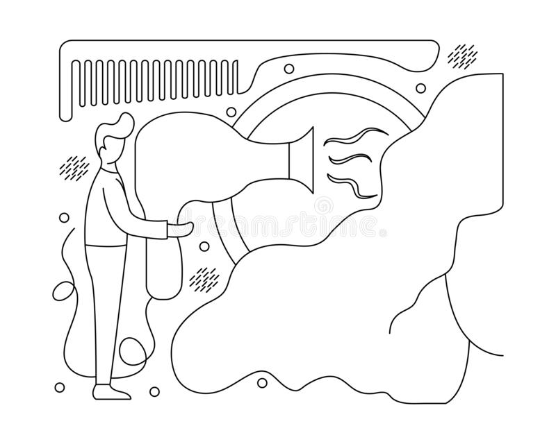 Concepto de la peluquería Ejemplo plano con el peluquero libre illustration