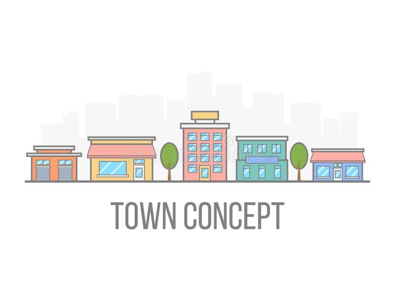 Concepto de la pequeña ciudad Paisaje urbano linear del color Calle con el hotel, el garaje, el boutique y el café Ciudad en esti stock de ilustración