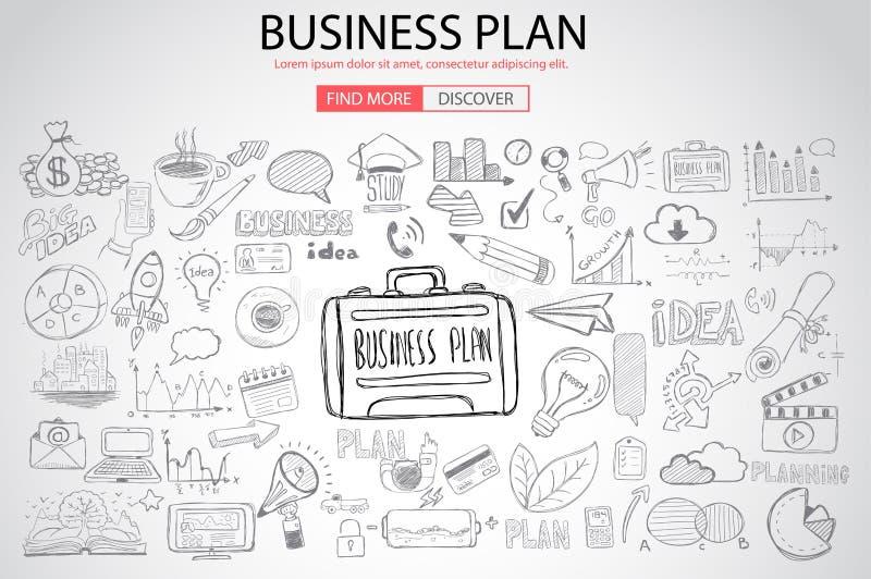 Concepto de la planificación de empresas con estilo del diseño del garabato libre illustration