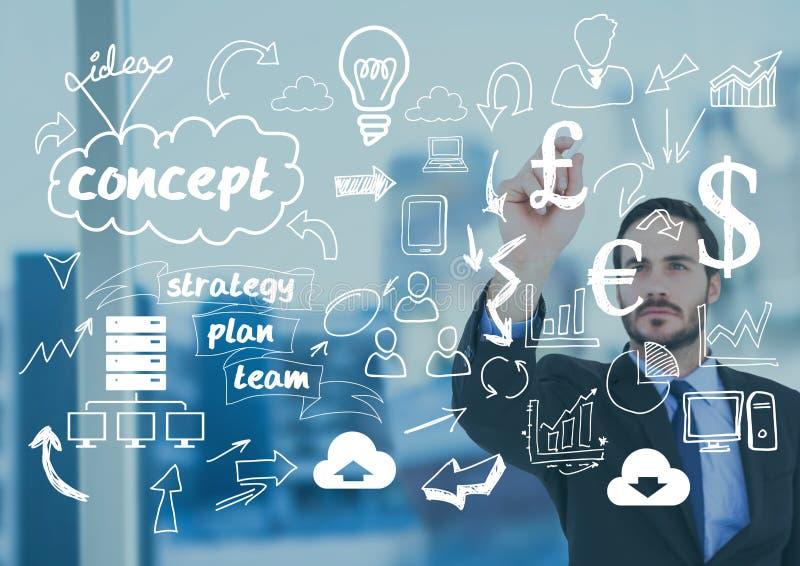Concepto de la planificación de empresas del dibujo del hombre de negocios contra oficina en fondo foto de archivo