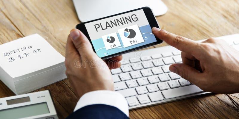 Concepto de la planificación de mercados del funcionamiento del progreso imagenes de archivo