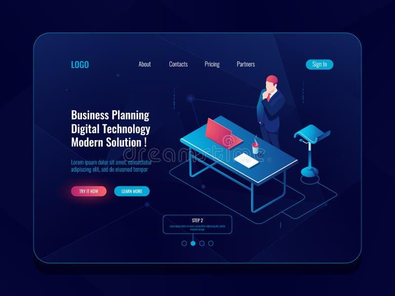 Concepto de la planificación de empresas, estancia del hombre de negocios y pensar el proceso del intercambio de ideas, flujo de  libre illustration