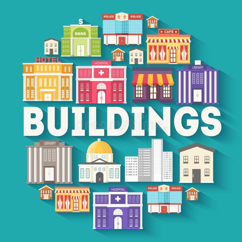 Concepto de la plantilla del infographics del círculo de los edificios de la arquitectura Los iconos diseñan para su producto o d ilustración del vector