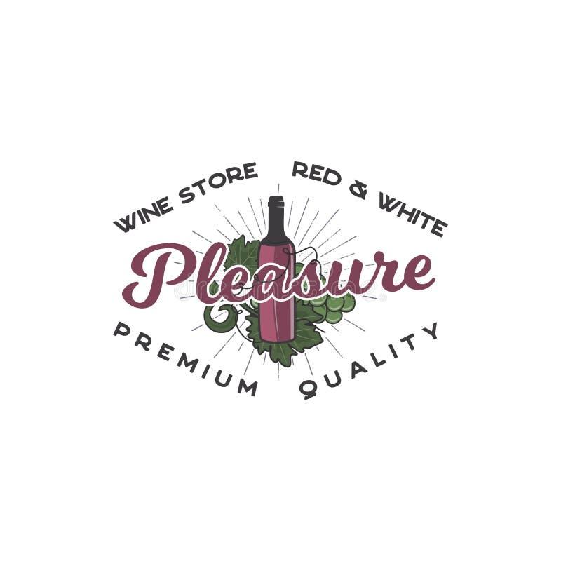 Concepto de la plantilla del logotipo de la tienda de vino La botella de vino, los símbolos de la vid y la tipografía diseñan - p libre illustration