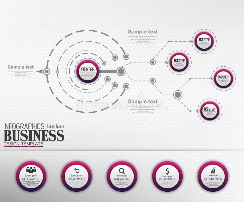 Concepto de la plantilla del negocio de Infographics con 5 opciones fotografía de archivo libre de regalías