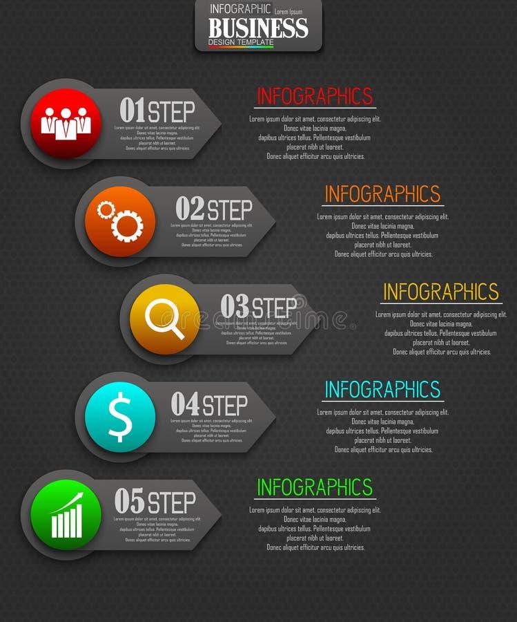 Concepto de la plantilla del negocio de Infographics con 5 opciones foto de archivo libre de regalías