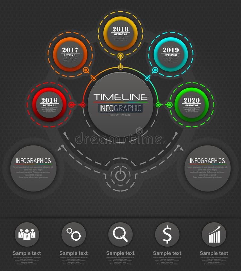 Concepto de la plantilla del negocio de Infographics con 5 opciones fotos de archivo libres de regalías