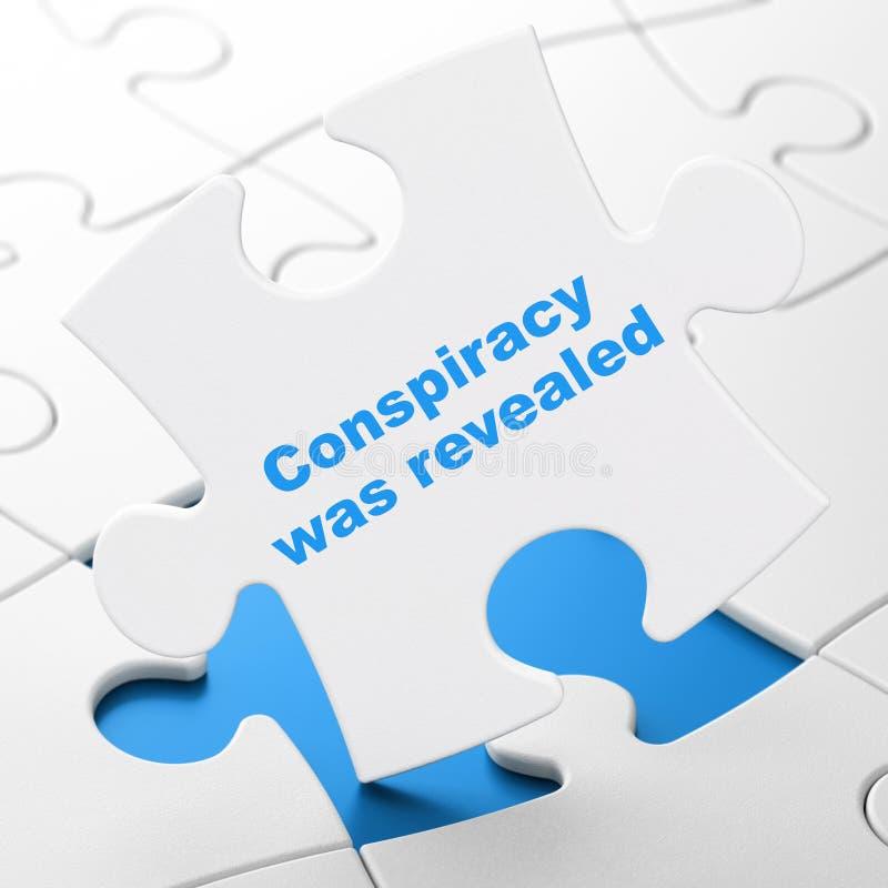 Concepto de la política: La conspiración fue revelada en fondo del rompecabezas stock de ilustración