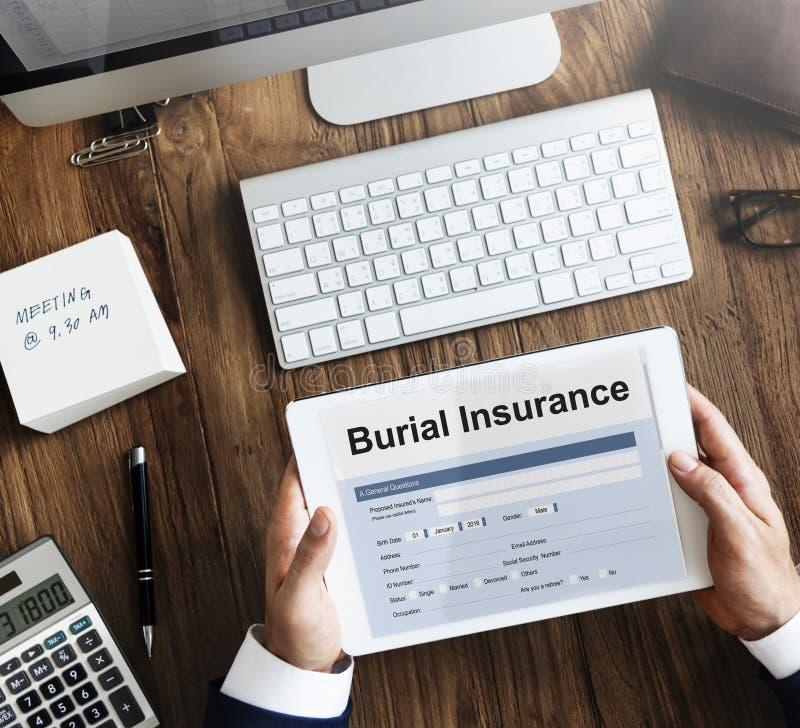 Concepto de la política de la forma del seguro del entierro imagen de archivo