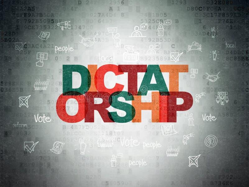 Concepto de la política: Dictadura en fondo del papel de datos de Digitaces stock de ilustración