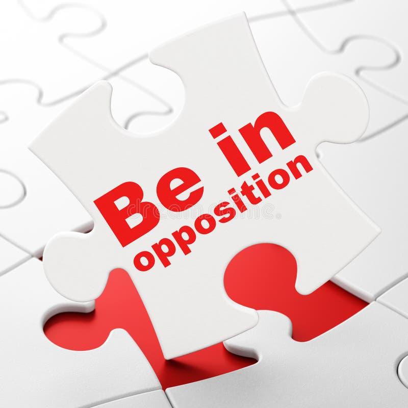 Concepto de la política: Esté en la oposición en fondo del rompecabezas ilustración del vector