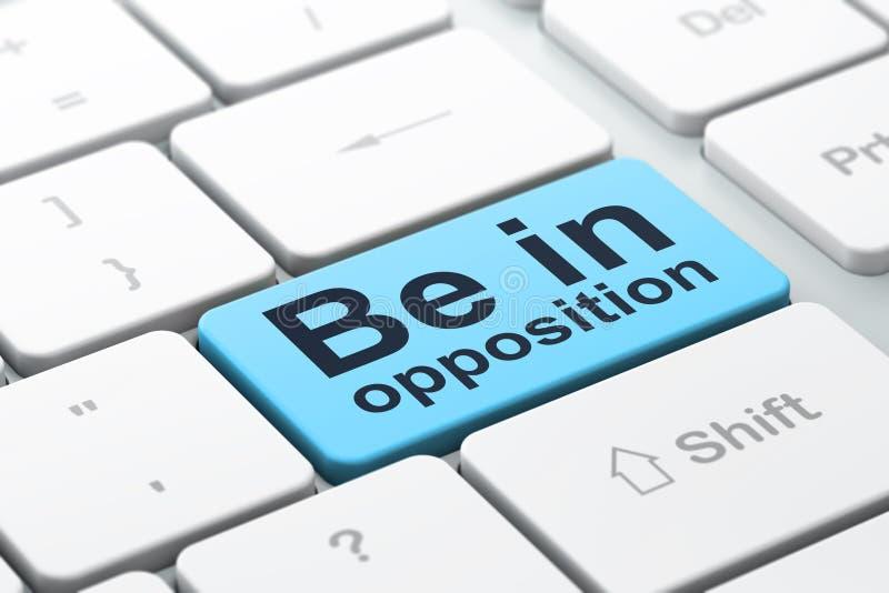 Concepto de la política: Esté en la oposición en fondo del teclado de ordenador libre illustration