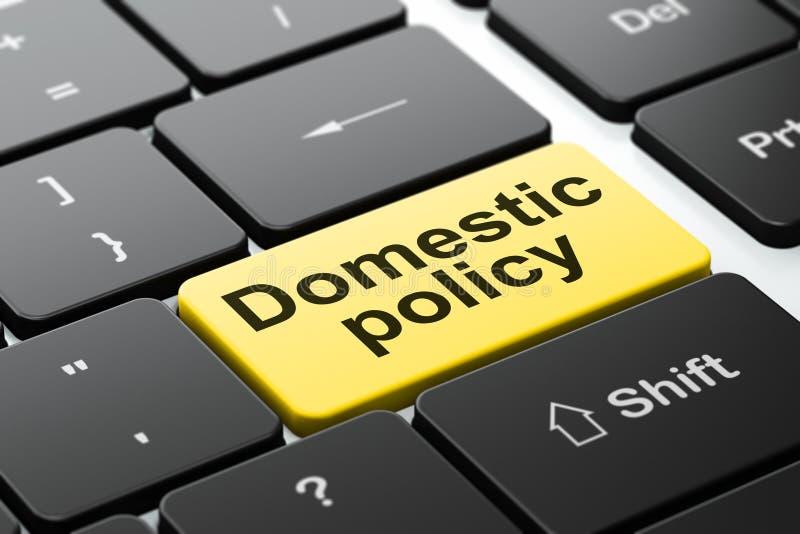 Concepto de la política: Política de interior en fondo del teclado de ordenador stock de ilustración