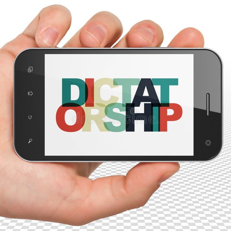 Concepto de la política: Mano que sostiene Smartphone con la dictadura en la exhibición stock de ilustración