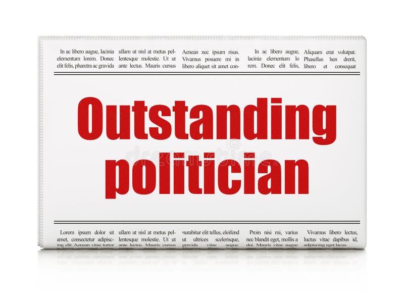 Concepto de la política: político excepcional del título de periódico stock de ilustración