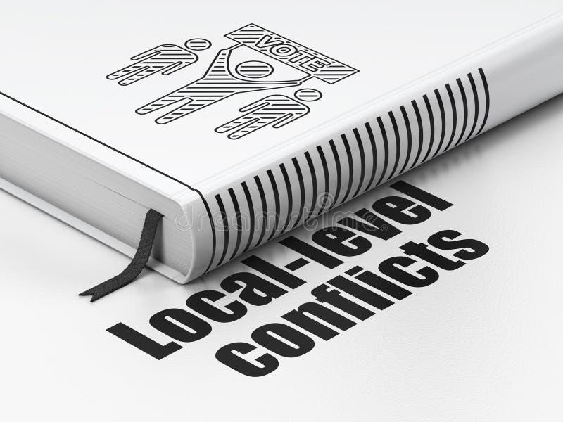 Concepto de la política: reserve la campaña electoral de, conflictos del nivel local en el fondo blanco libre illustration