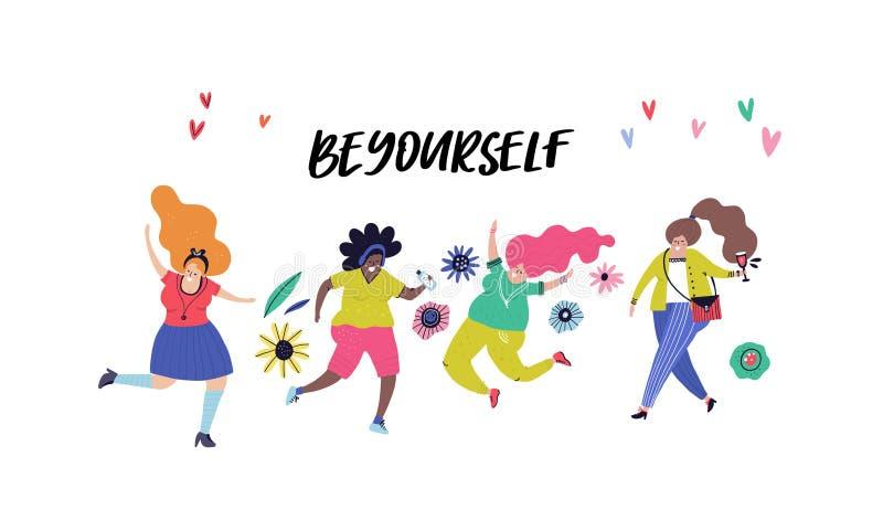 Concepto de la positividad del cuerpo libre illustration