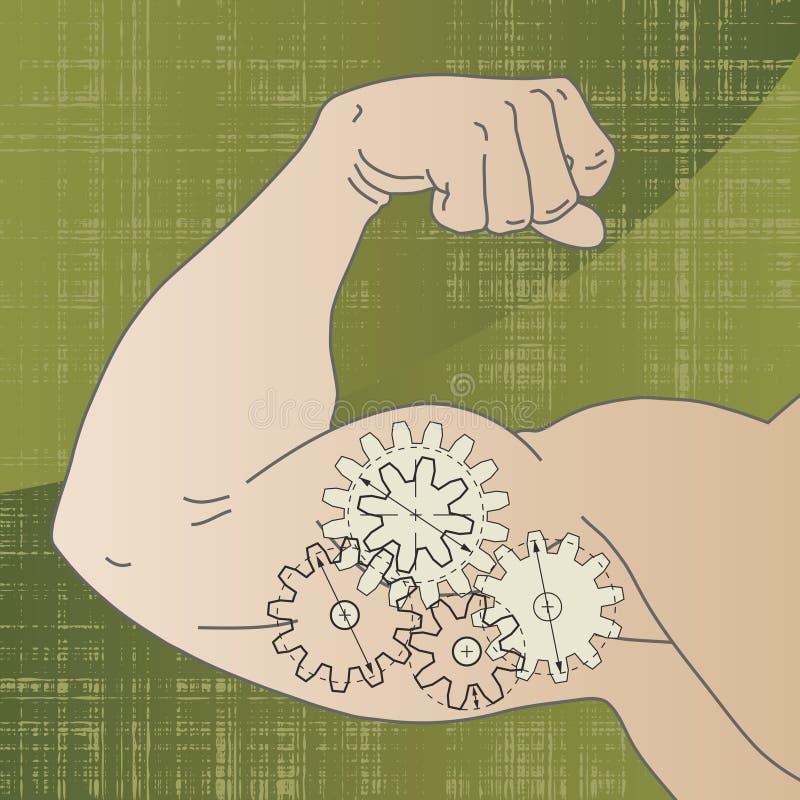Concepto de la potencia del músculo stock de ilustración