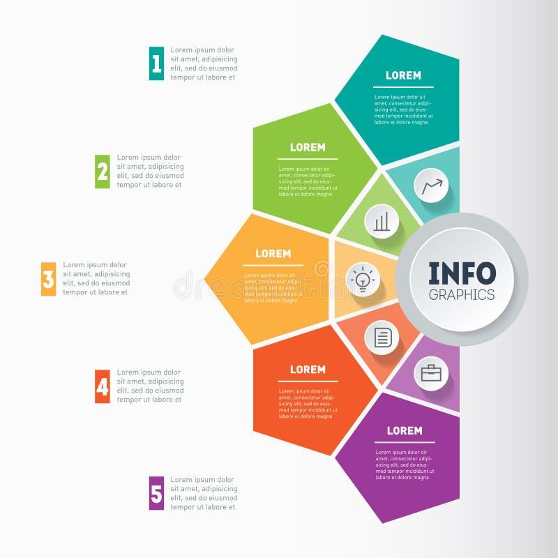 Concepto de la presentación del negocio con 5 opciones Vector infographic ilustración del vector