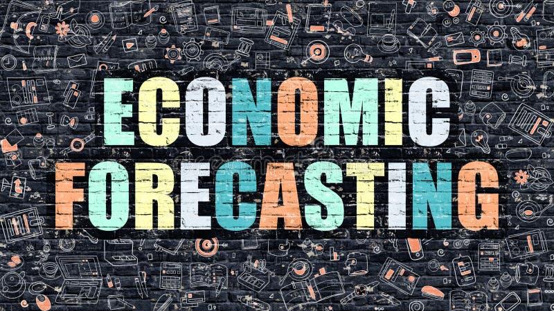 Concepto de la previsión económica Multicolor en Brickwall oscuro stock de ilustración