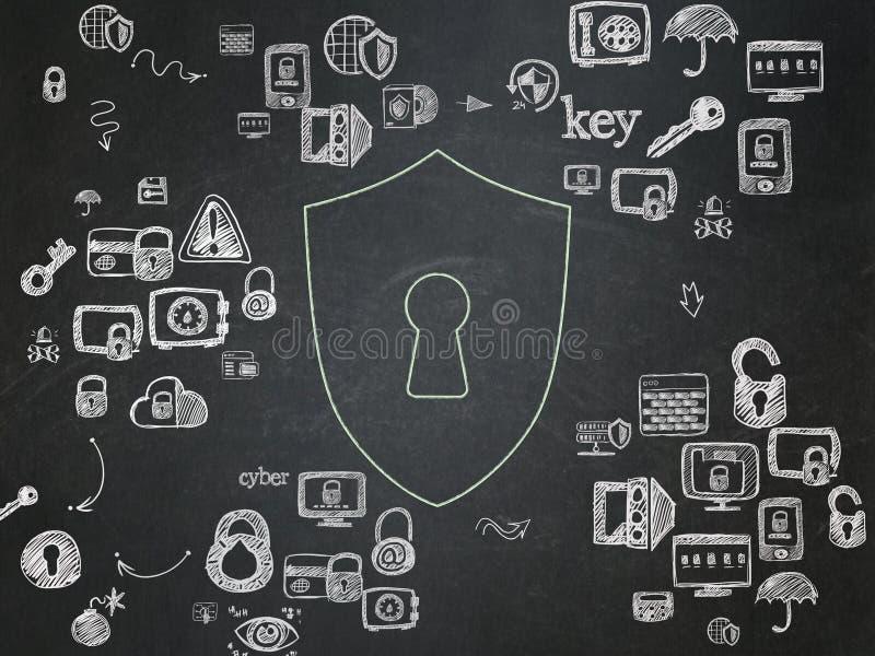 Concepto de la privacidad: Escudo con el ojo de la cerradura en escuela imágenes de archivo libres de regalías