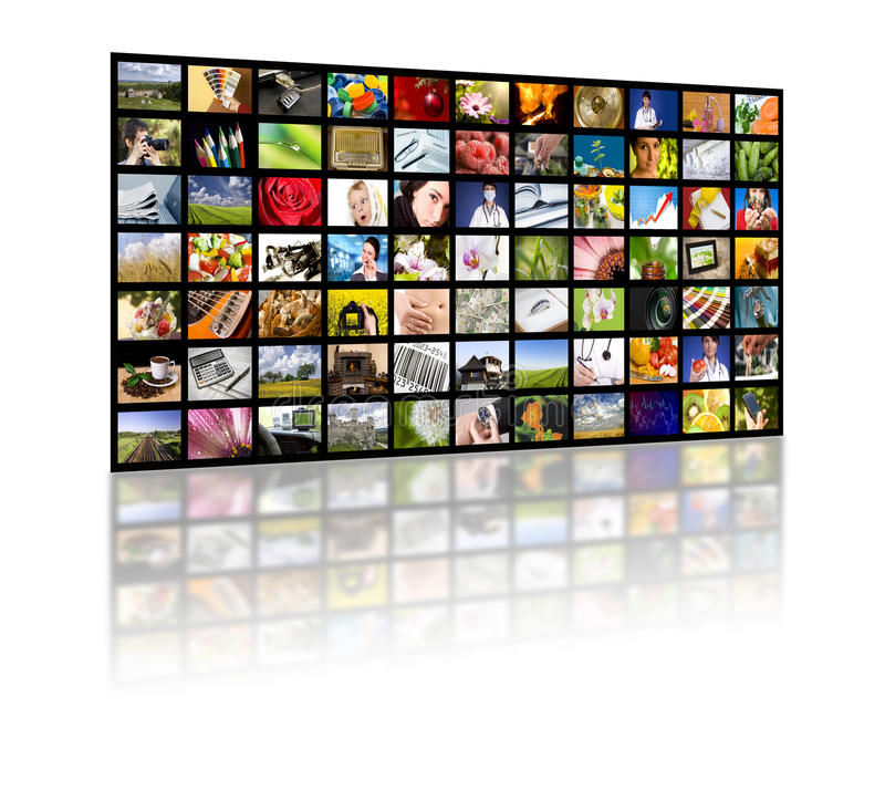 Concepto de la producción de la televisión. Los paneles de la película de la TV foto de archivo