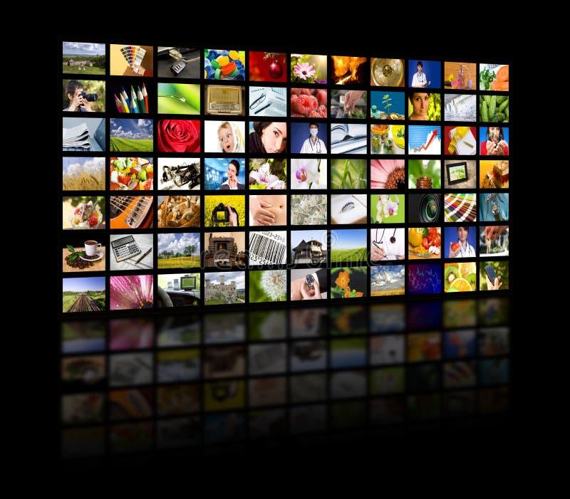 Concepto de la producción de la televisión. Los paneles de la película de la TV fotos de archivo