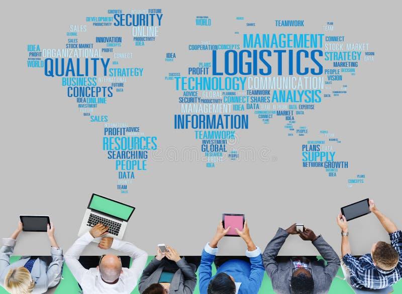 Concepto de la producción del servicio de carga de la gestión de logística ilustración del vector