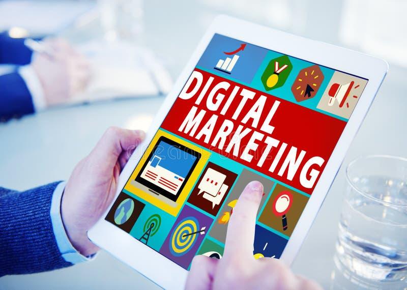 Concepto de la promoción de la campaña del comercio del márketing de Digitaces fotos de archivo libres de regalías