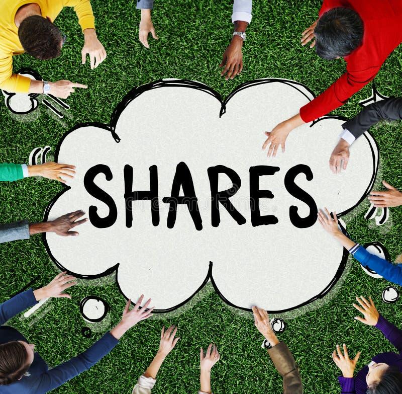 Concepto de la proporción de la contribución del activo de accionista de las partes foto de archivo libre de regalías