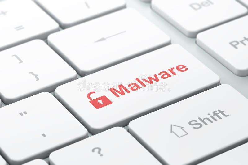Concepto de la protección: Candado abierto y Malware en fondo del teclado de ordenador fotografía de archivo libre de regalías