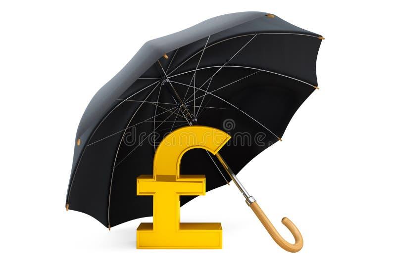 Concepto de la protección del dinero. Libra de oro Sterling Sign debajo de Umbre libre illustration