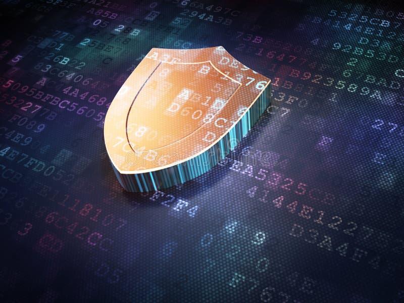 Concepto de la protección: Escudo de oro en digital libre illustration