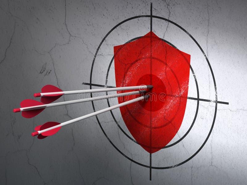 Concepto de la protección: flechas en blanco del escudo en fondo de la pared foto de archivo libre de regalías