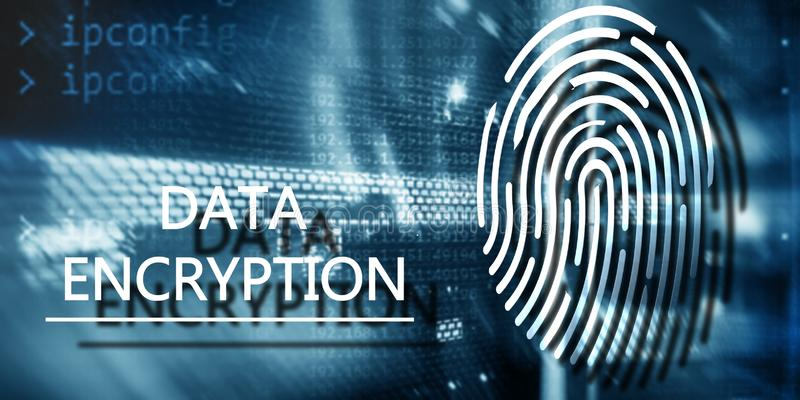 Concepto de la protección de la huella dactilar: Encripción de datos en fondo digital del superordenador fotos de archivo libres de regalías