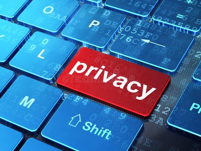 Concepto de la protección: Privacidad en el teclado de ordenador ilustración del vector