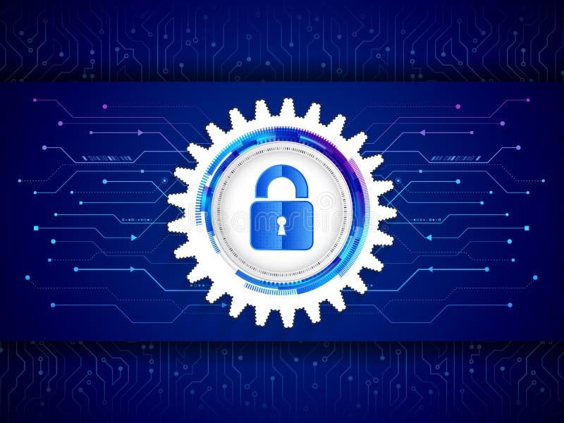 Concepto de la protección de la tecnología de Digitaces Placa de circuito futurista en el fondo azul stock de ilustración