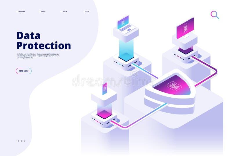 Concepto de la protecci?n de datos Dinero del canal de la seguridad de Digitaces proteger vector seguro del software de la aislam stock de ilustración