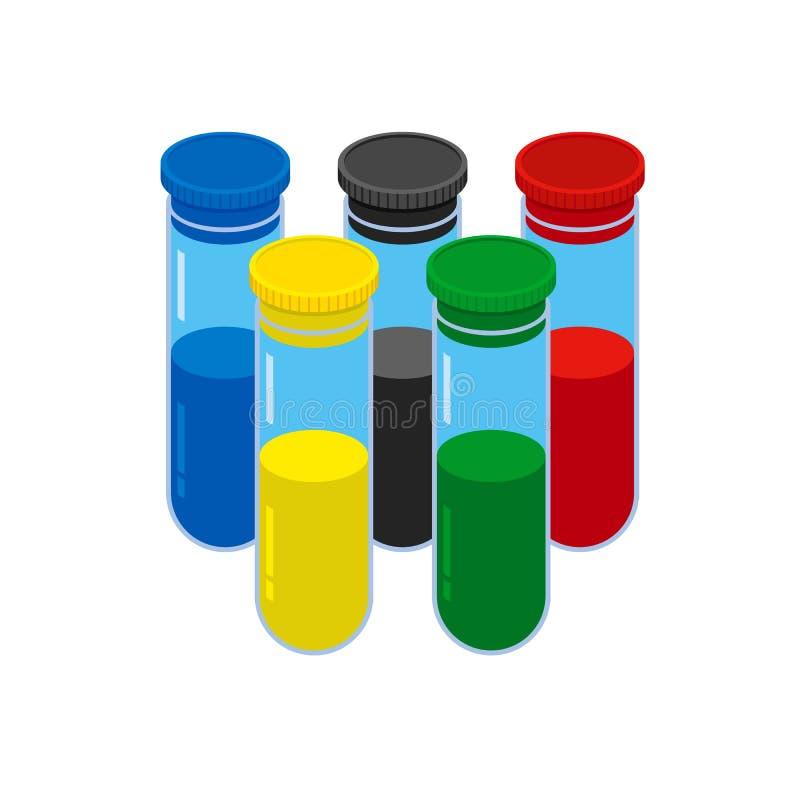 Concepto de la prueba de doping Frasco de cristal coloreado cinco stock de ilustración