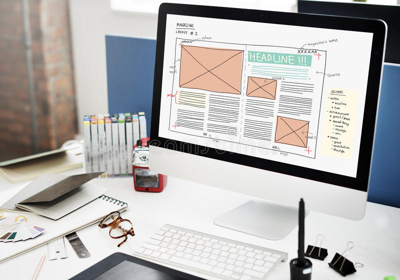Concepto de la publicación de la disposición de la creatividad de la revista del diseño medios foto de archivo libre de regalías